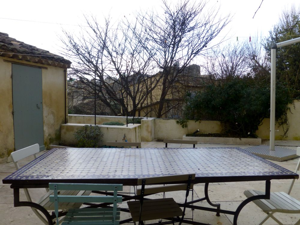 View of the patio at our Lourmarin house in Provence, France, in January