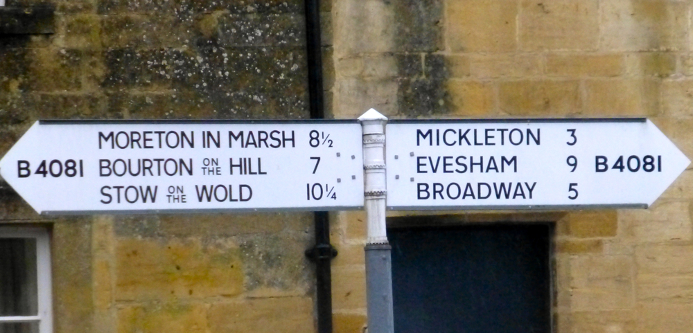 Cotswolds sign post in Chipping Campden