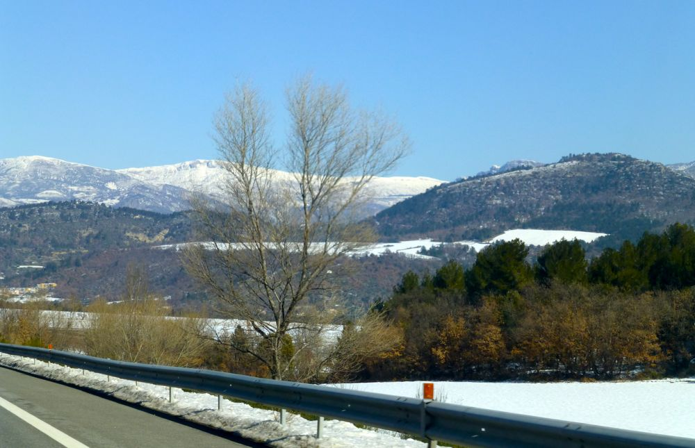 January snow on A51 to Sisteron, Provence, France