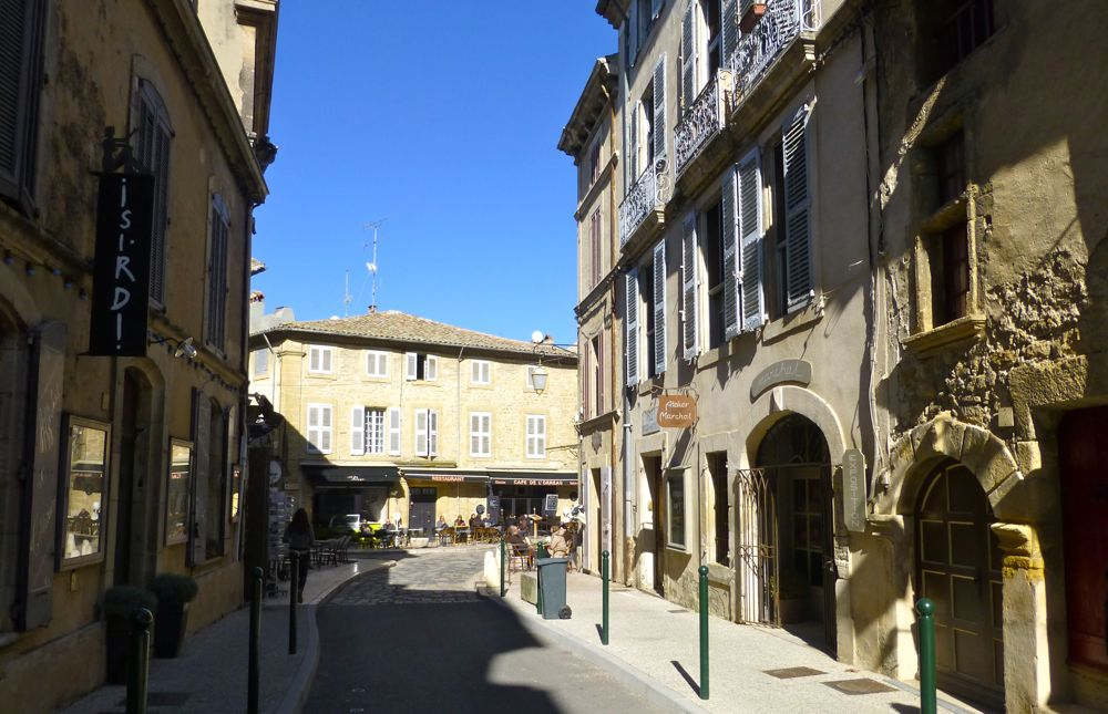 Looking down a Lourmarin street in Provence, France
