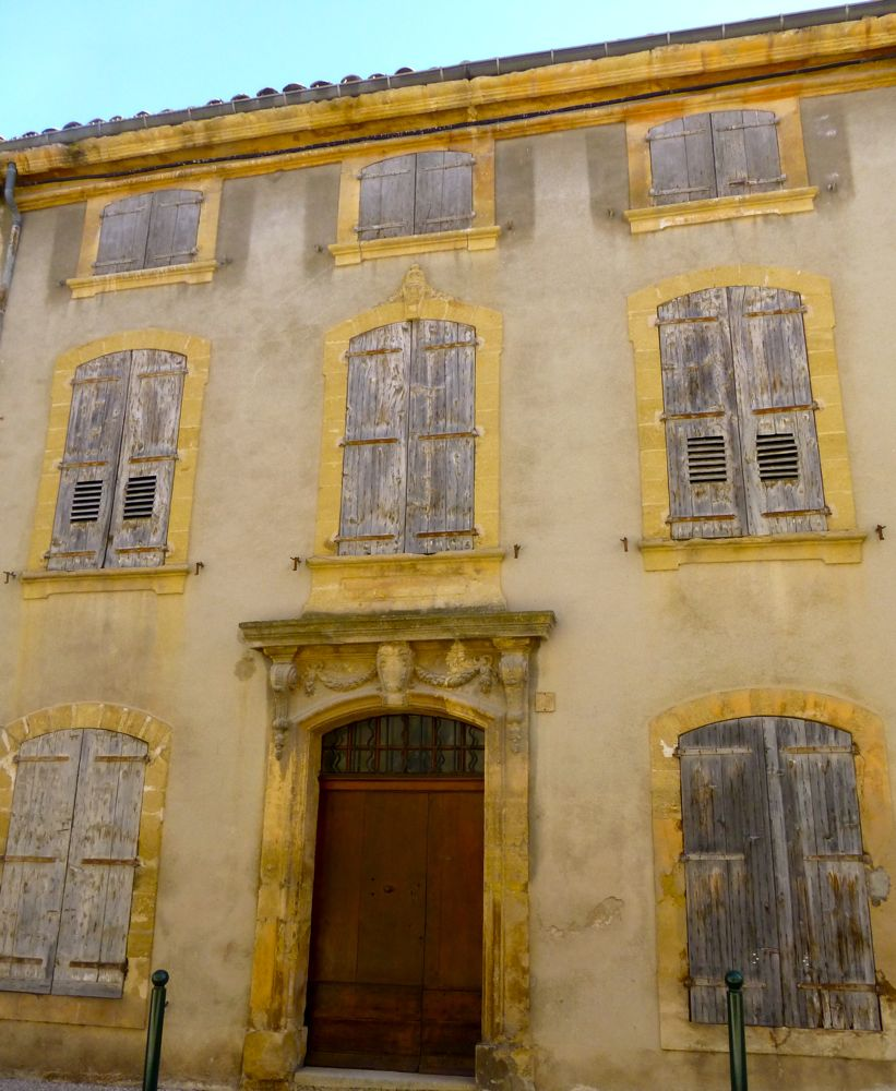 Old shuttered buildings in Lourmarin the Luberon, Provence, France