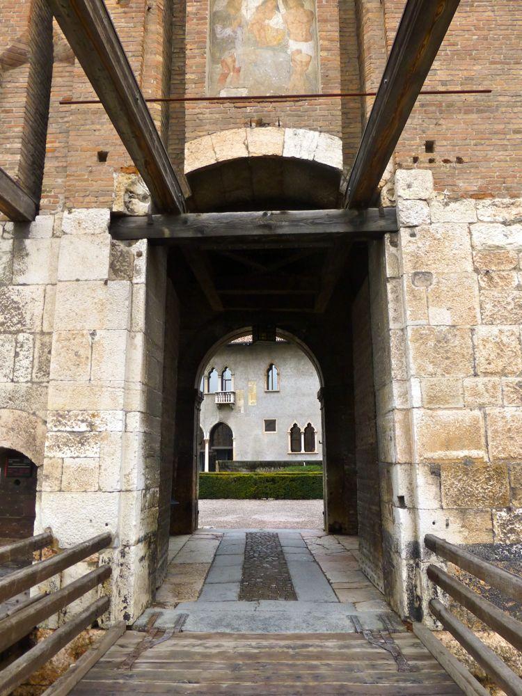 Crosssing Drawbridge into Castelvecchio, Verona