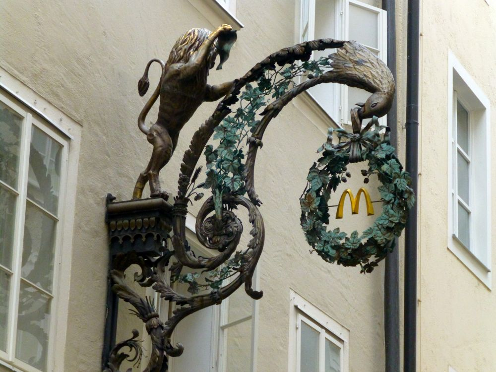 Macdonalds sign on Getreidegasse, Salzburg, Austria