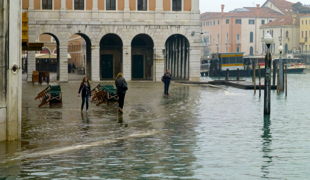 Morning flooding, Venice, Italy
