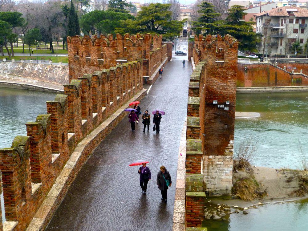 View of Ponte Scaligero over Adige River from Castelvecchio's rampart's, Verona