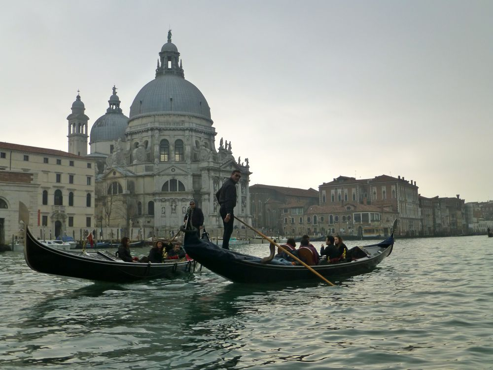 Santa Maria della Salute built un a bed of 17 000 wooden pylons from Gondola ride