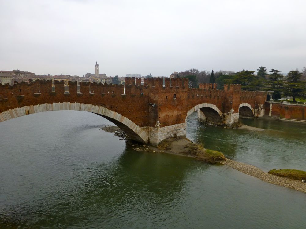View of Ponte Scaligero over Adige River by Castelvecchio, Verona