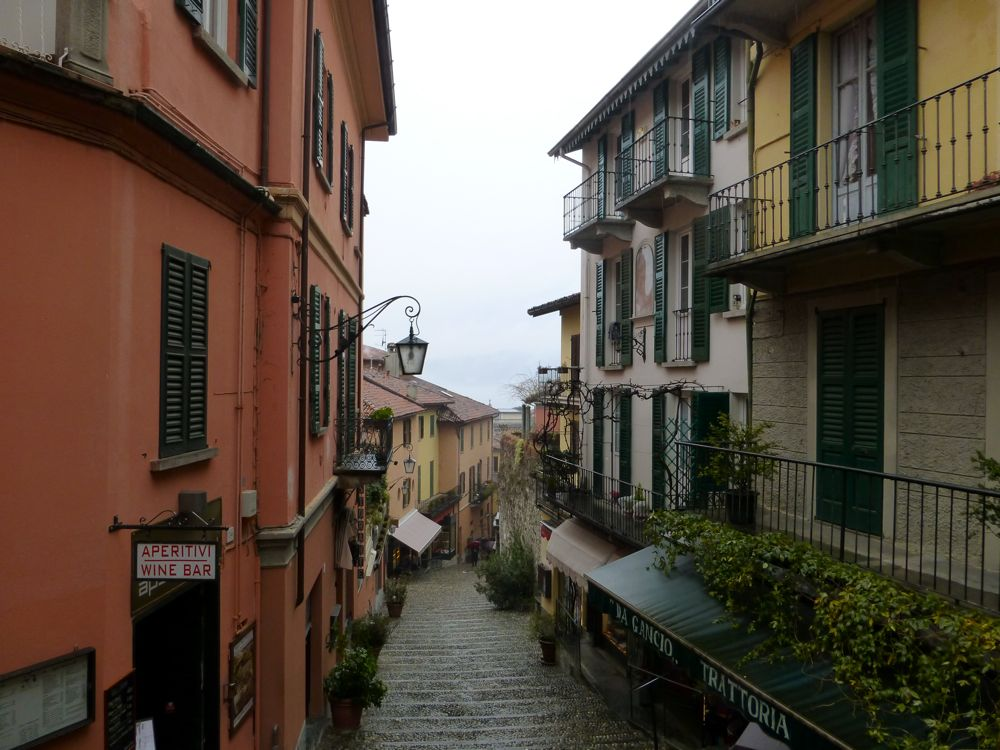Bellagio street, Lake Como in the rain