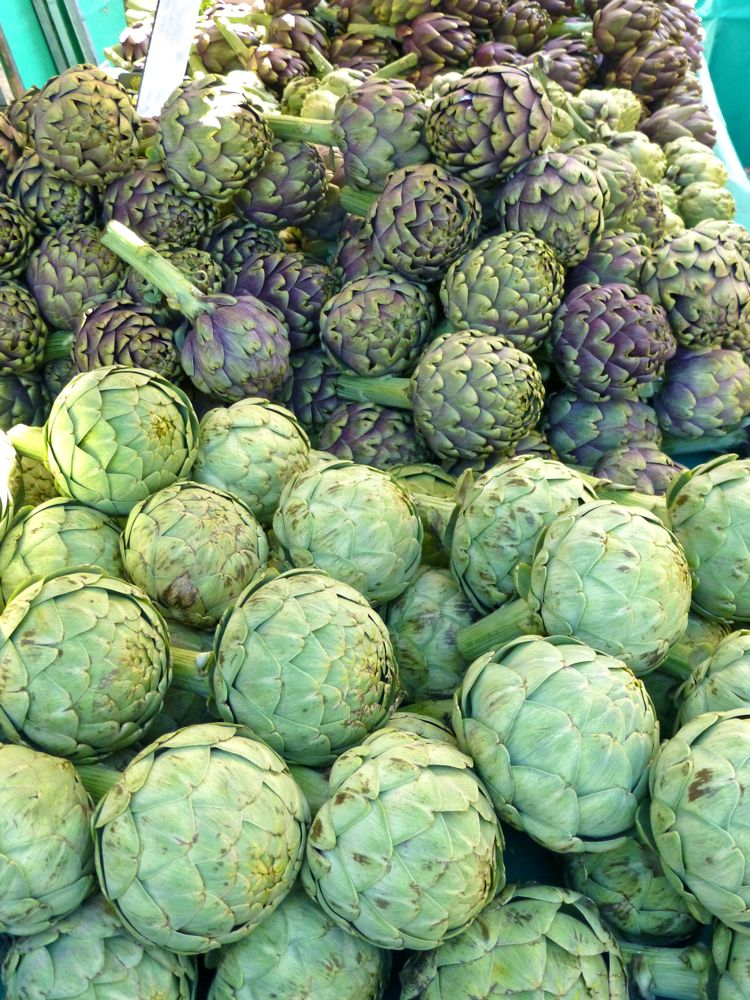 Artichokes in the Lourmarin Market, Luberon, Provence, France