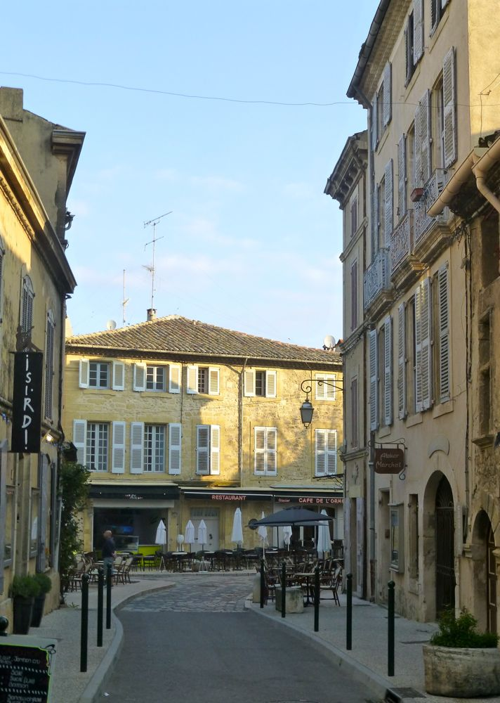 Early morning on a street, Lourmarin, Provence, France
