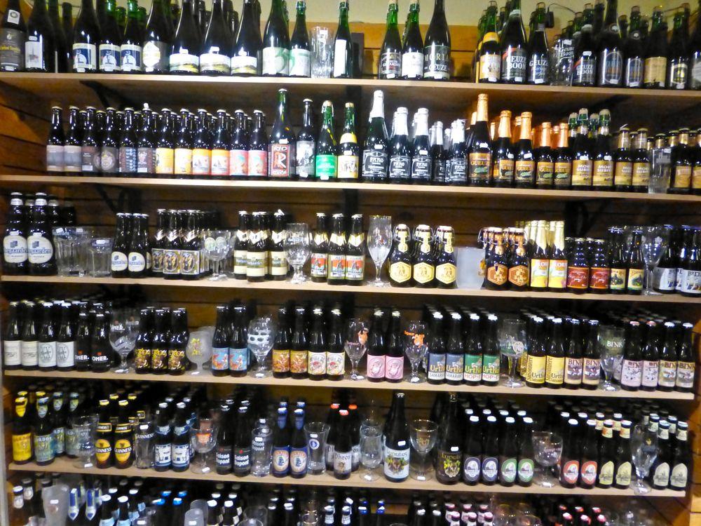 Many Belgian beers in Bruges, Belgium