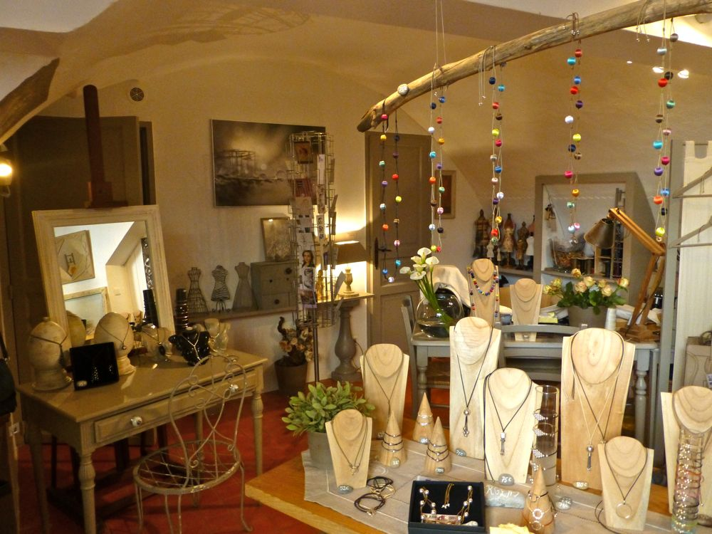 Inside Mizso, jewelry shop in Lourmarin, Vaucluse, Luberon Valley, Provence, France
