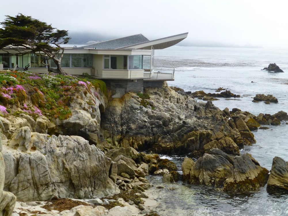 1960's coastal architecture, in the coastal fog, Carmel, California, USA