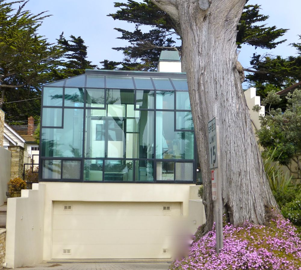 Modern, 'glass house' on Scenic Drive, Carmel, California, USA