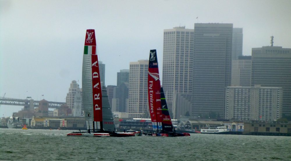 Team NZ and Luna Rossa competing in Louis Vuitton Cup, San Francisco