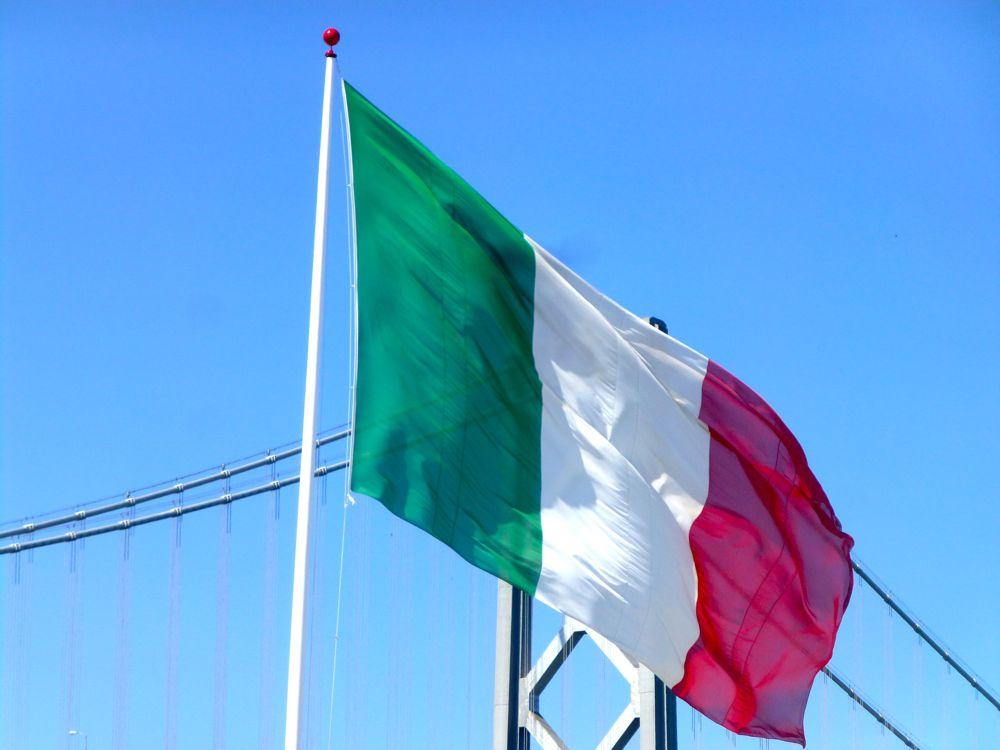 Italian flag by Bay Bridge America's cup San Francisco 2013