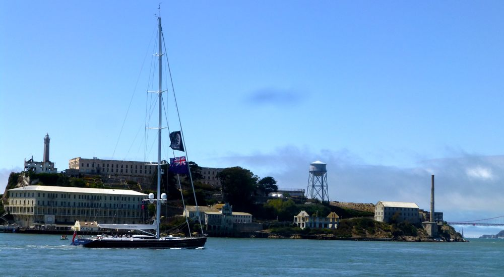 Kiwi supporter yacht by Alcatraz @ America's Cup 2013 San Francisco