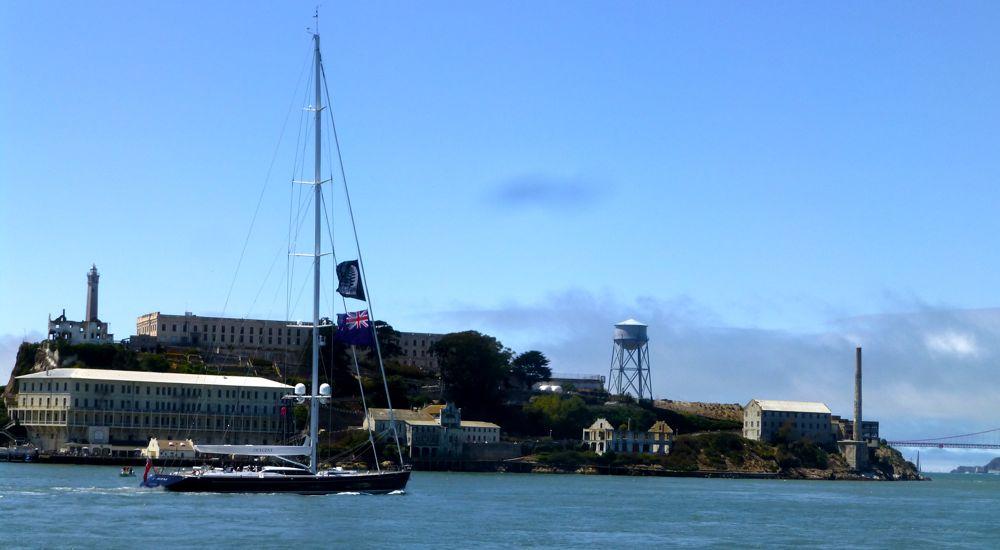 Kiwi supporter yacht by Alcatraz @ America's Cup 2013 San Francisco