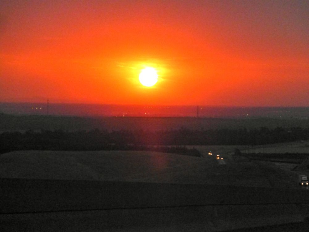 Sun setting in Central Valley, California