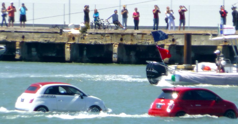 The Italian Fiat victory lap for Luna Rossa @