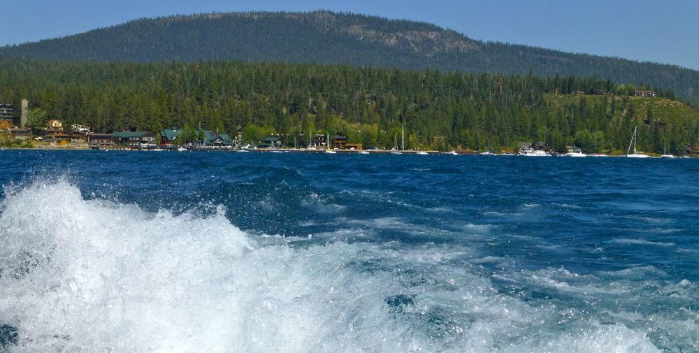 Lake Tahoe, California on a speed boat