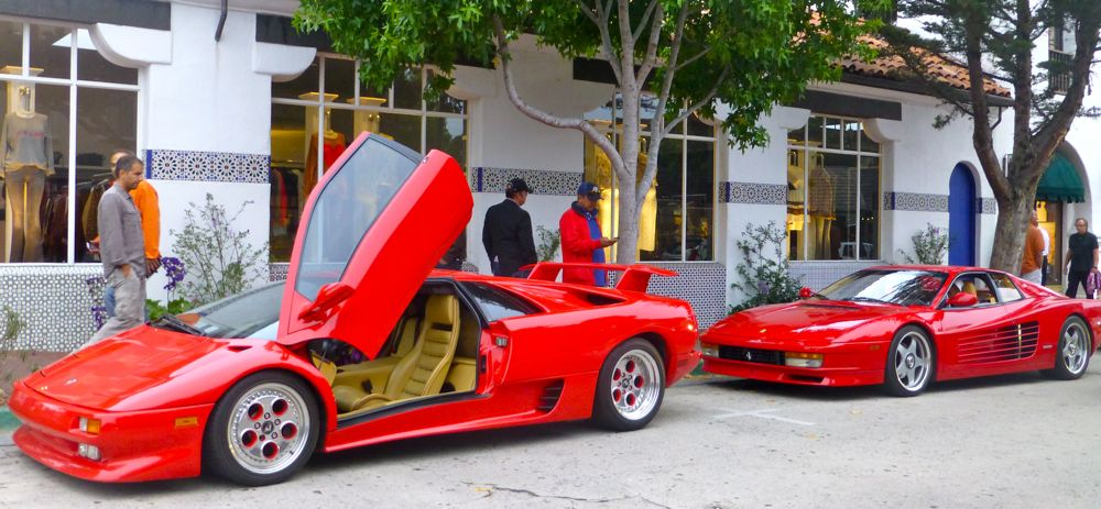 Lamborghinis and Ferraris on display in Carmel
