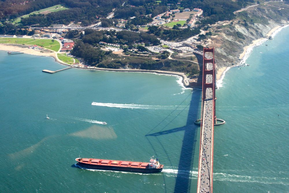 High above the Golden Gate Bridge, San Francisco California, USA
