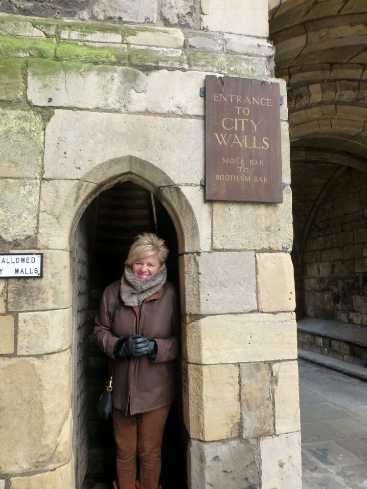 By the entrance to the York city wall ramparts York, England