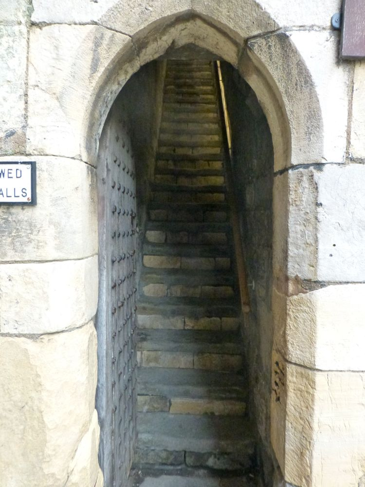 Steps up to city wall, York, England