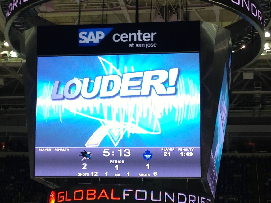 Louder! Make more Noise at the San Jose Sharks game against the Toronto Maple Leafs