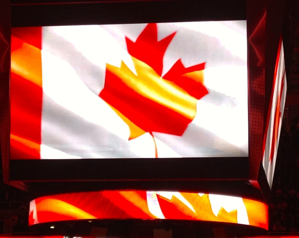 Toronto Maple Leafs National Flag playing San Jose Sharks