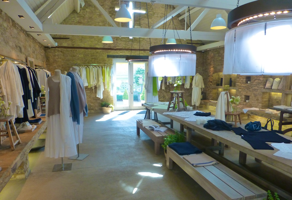Clothing shop barn at Daylesford Barns in the Cotswolds