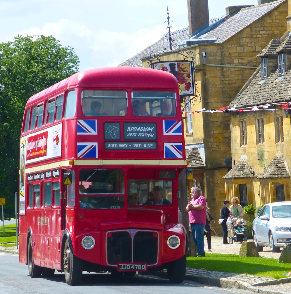 English double decker bus, Broadway in the Cotswolds