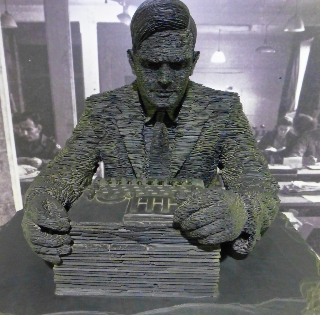 Statue of Alan Turing, inventor of Colossus, world's first digital computer, Bletchley Park, England