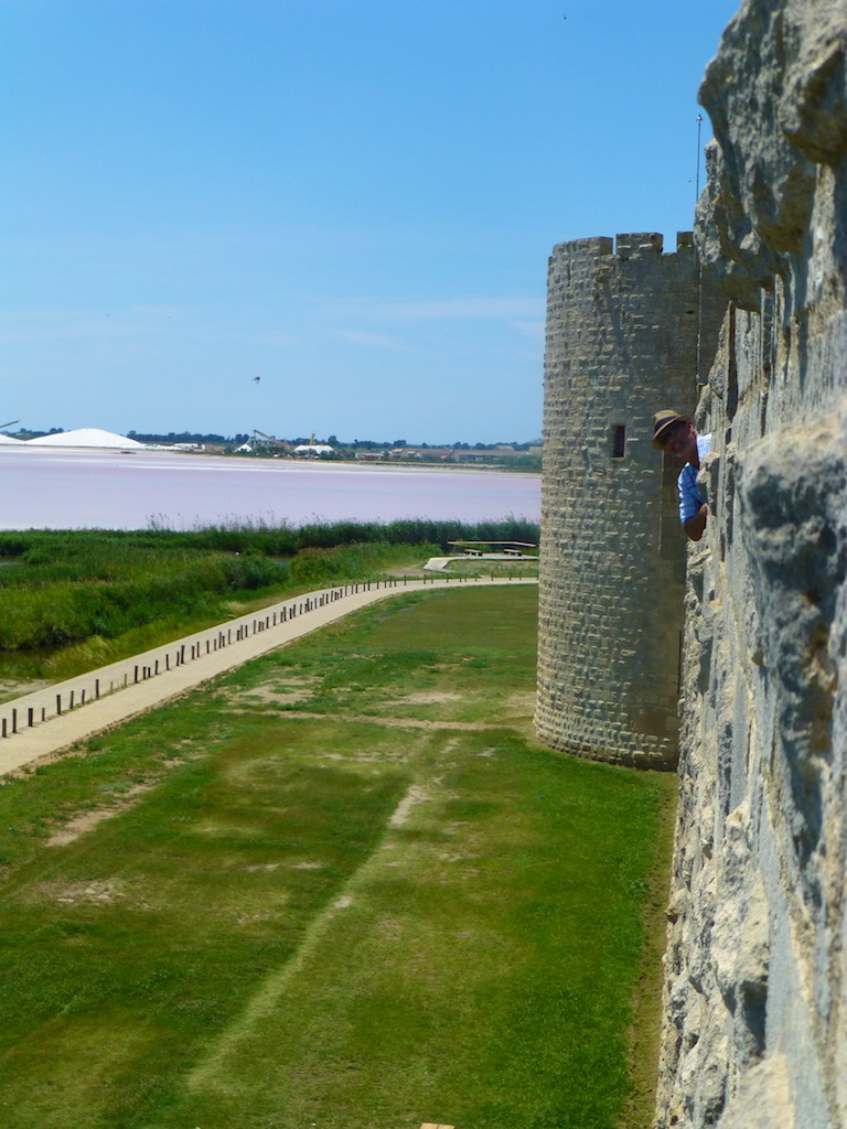 At ramparts of the walled Medieval city of Aigues-Mortes, Camargue, France