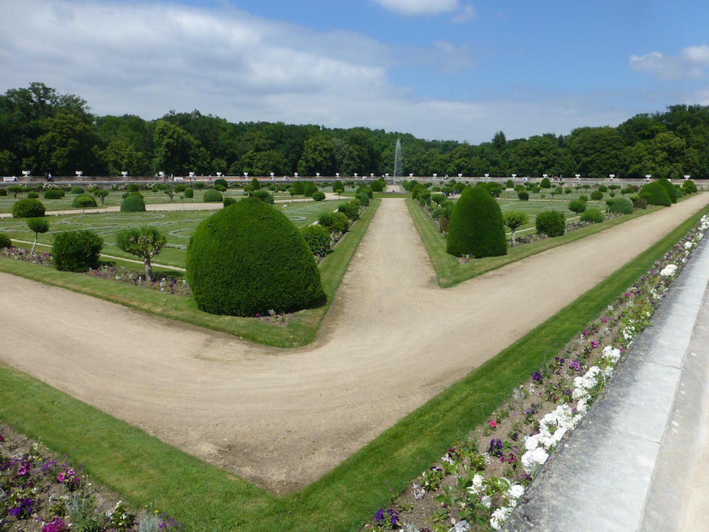 Formal gardens at Chateau de Chenonceau, Loire Valley, France
