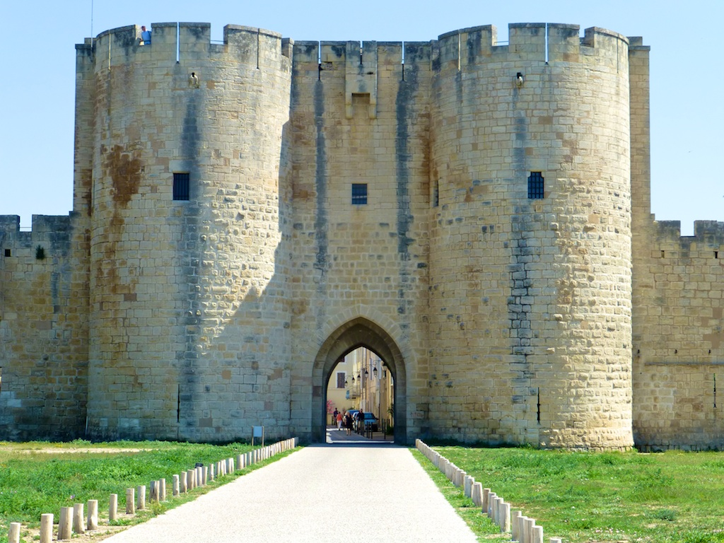 Gates to the walled Medieval city of Aigues-Mortes, Camargue, France