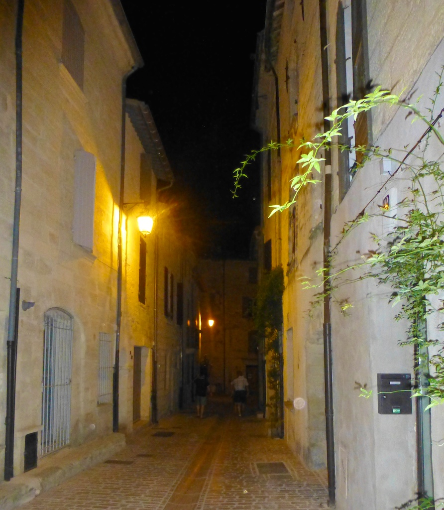 Street in Uzes at Night, Uzes at Night, Uzes, Languedoc Rousillon, France
