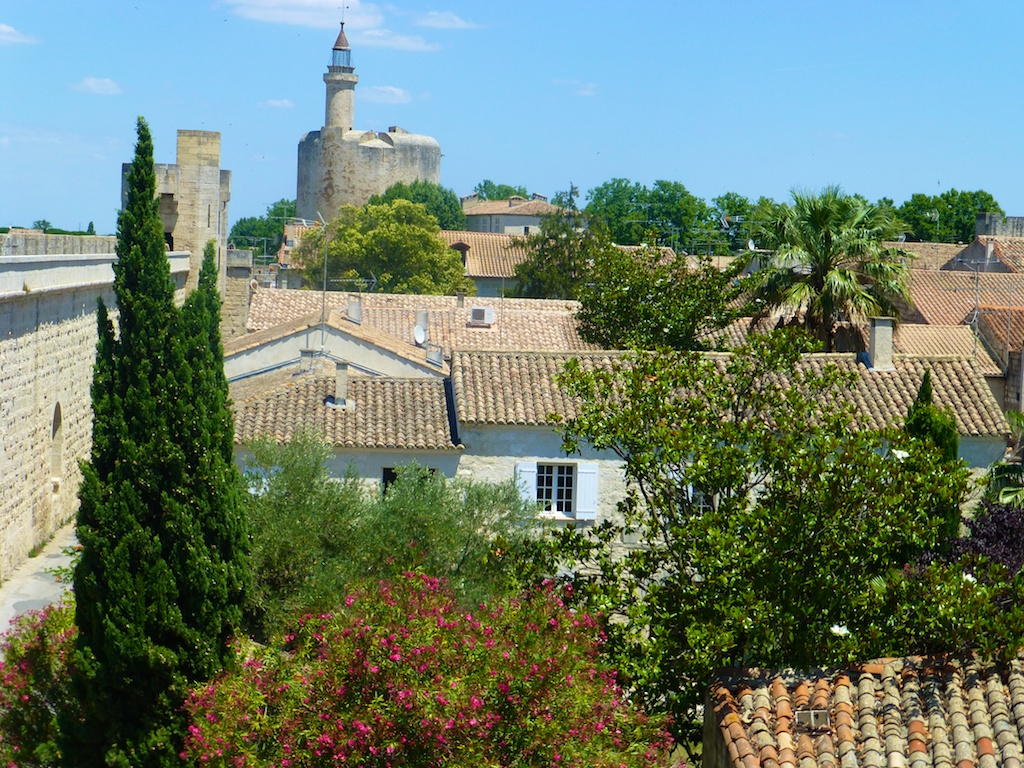 View of the Chateau Tower across the ramparts of Aigues-Mortes, Camargue, France