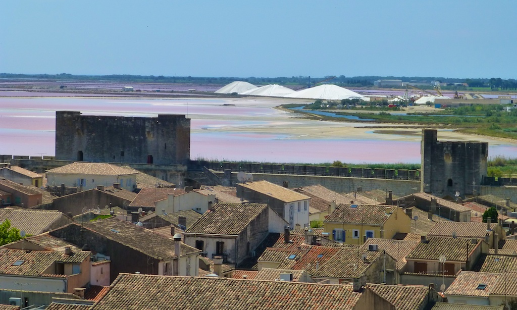 View of the salt from the ramparts of Aigues-Mortes, Camargue, France