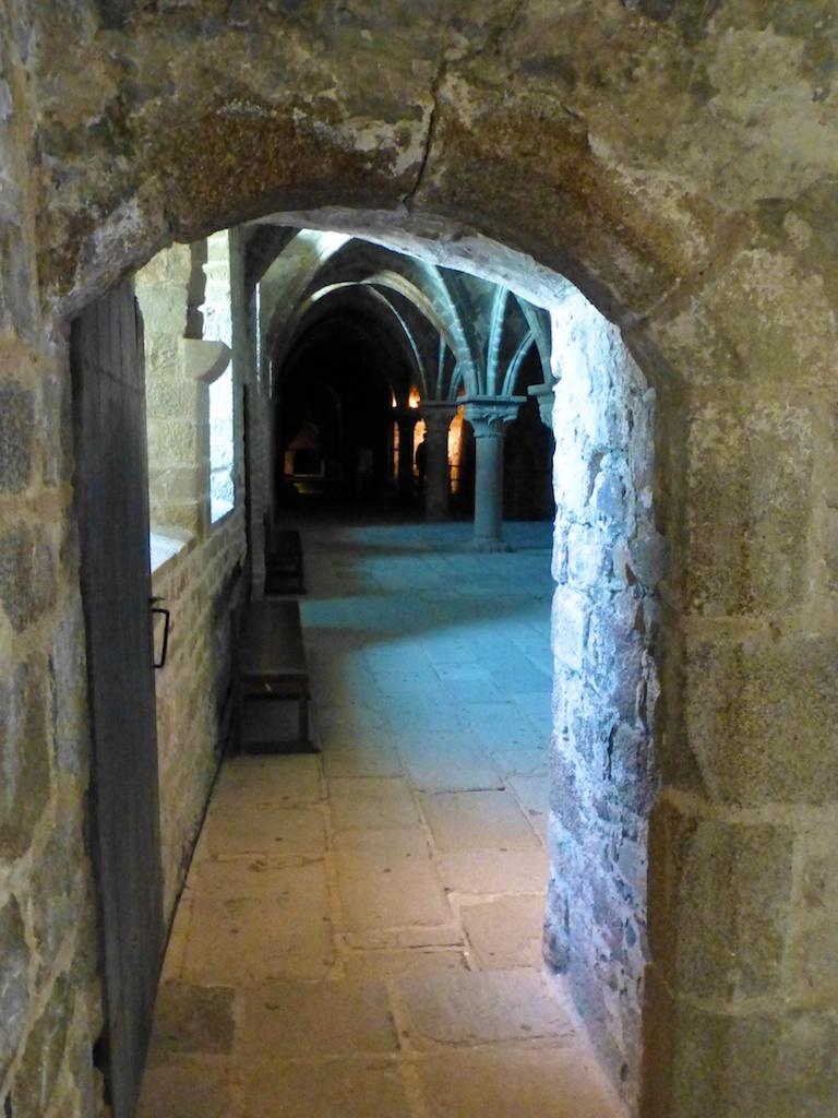 Exploring inside the Abbey, Mont Saint Michel, France