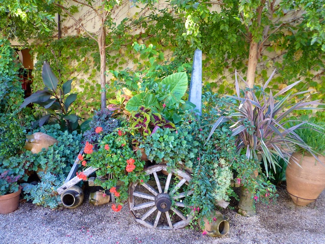 Wagon of flowers at Chateau St Jean,Sonoma, California