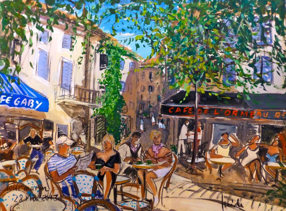 Isirdi paintingof Caroline Longstaffe and friends, Lourmarin, Provence