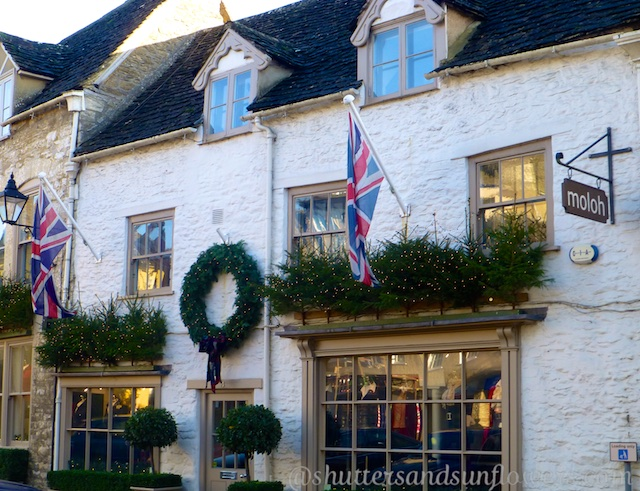 Christmas decor on the shops of Tetbury, Cotswolds, England