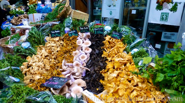 Mushrooms for sale at Borough Market, London