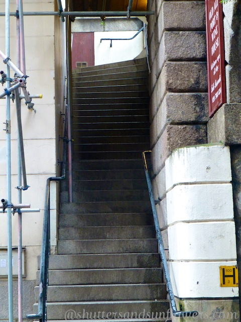Steps by London Bridge where Dickens wrote of Nancy's murder by Bill Sykes in Oliver Twist