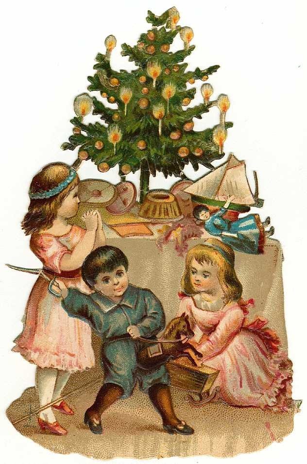 Children by the Christmas tree