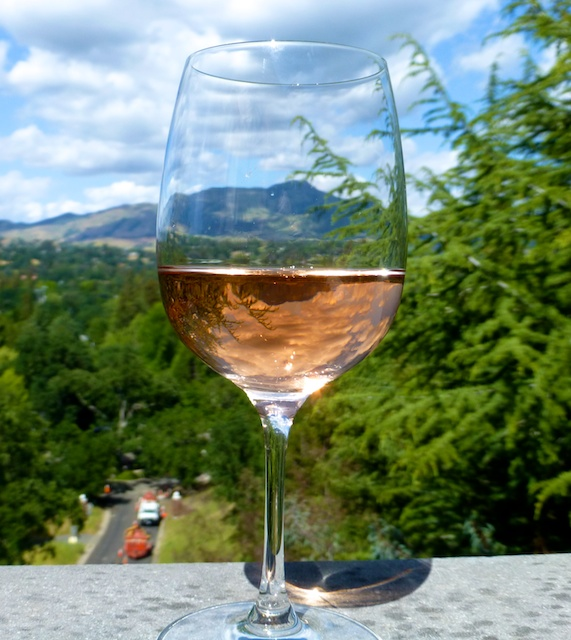 a glass of rose wine