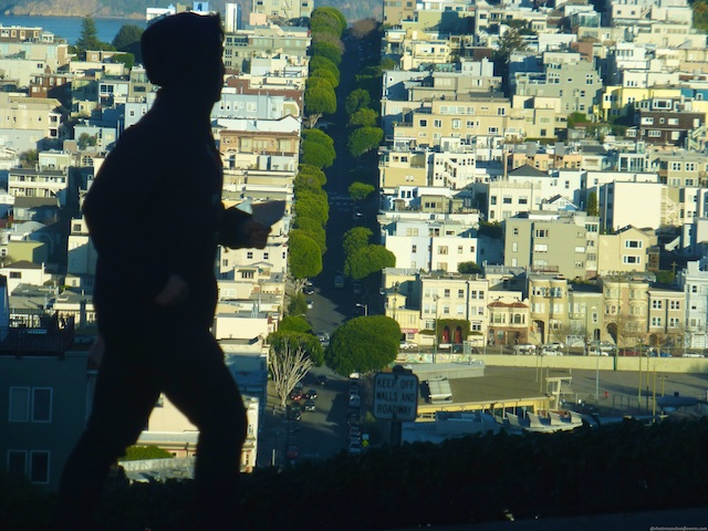 Runner at the top of Lombard Street, San Francisco