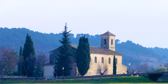The church in Lourmarin at dusk, Luberon, France